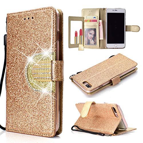 UEEBAI Hülle für iPhone X XS, Premium Glitzer PU Leder Handyhülle mit Spiegel [Diamant Schnalle] [Kartenslots] [Magnetverschluss] Ständer Funktion Strass Brieftasche Weich TPU Schutzhülle - Gold#2 -