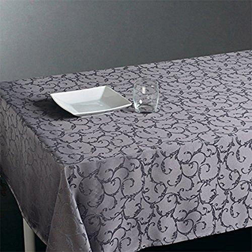 Nappe rectangulaire Jacquard Gris, Anti-tâche, L300 cm -PEGANE-