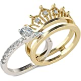 Crown Ladies Rings Set Anillo de Compromiso de Plata esterlina Chapado en Oro Anillo de propuesta de Diamante de circonita de