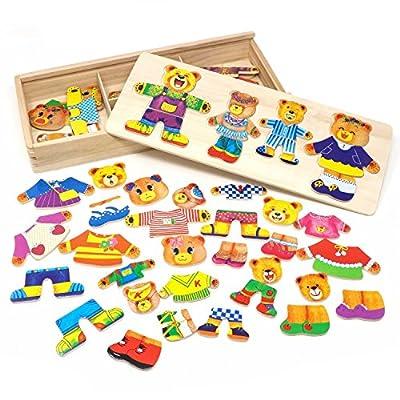 LewoJouets de Filles en Bois OursFamille Jeux de S'habillerPuzzle pour les Enfants avecBoîte