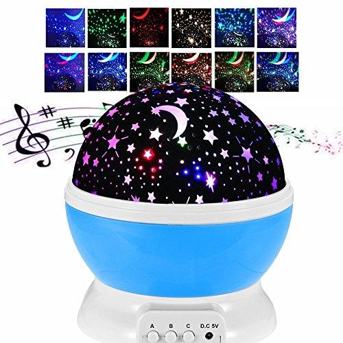 Noche luz bebé sueño Luna estrellas proyector cosmos con música romántica 12 canciones USB carga 360 grado rotación ronda lámpara 8 modo de iluminación para relajarse para niños infantil cumpleaños niños día regalo de Navidad