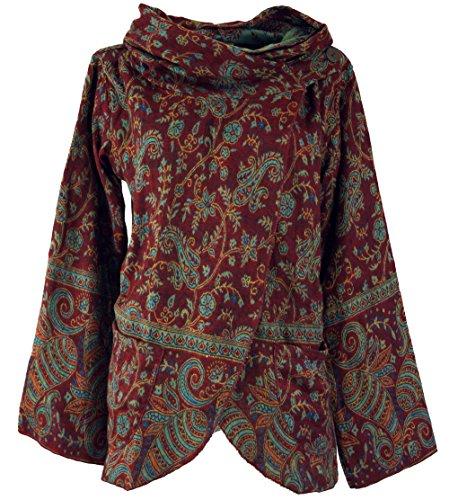Guru-Shop Cape, Wickeljacke Boho Chic, Damen, Wine, Synthetisch, Size:XL, Boho Jacken, Westen Alternative Bekleidung