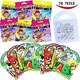 German Trendseller Kinder Mal - SET - 78 Teilig ┃ ★★★ 6 Malbücher & 72 Buntstift ★★★ ┃ Mitgebsel ┃ Kindergeburtstag ┃ Malen ┃ Für 6 Kinder