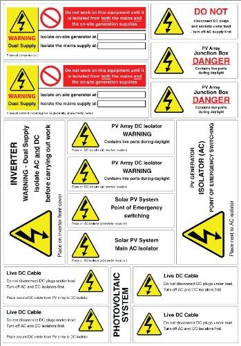 CTL 7828187 Warnaufkleber Solar PV System , A4, 11 Designs / 5 Blatt pro Packung, Packung mit 80 Aufklebern 7828187