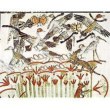 "Cuadro en lienzo: 18th Dynasty Egyptian ""Fishing and fowling in the marshes, detail of the birds, from the Tomb Chapel of Menna, New Kingdom"" - Impresión artística de alta calidad, lienzo en bastidor, 45x35 cm"