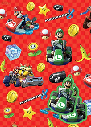 Mario Kart Gift Wrap & Tags X 2 by Mario - Super Mario Tag