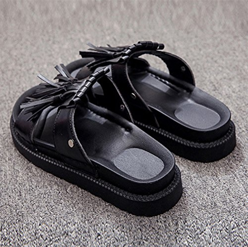 Longra Donne Nappe pantofole Toe Nero