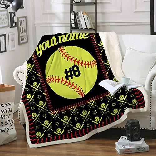 FDCSYP Decken,Bettwäsche Einzigartige Baseball 3D-Digitaldruck Sherpa Throw Blanket - Warme Doppelbett Wirft Decke,Für Schlafsofa Winter Blatt Flauschigen Bettdecken,75X100Cm/30X40 Zoll