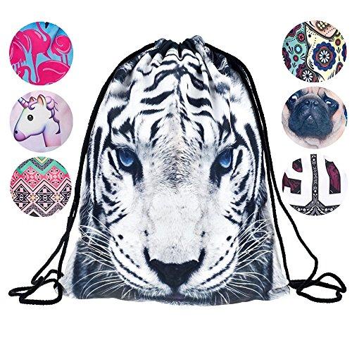 Creativee, Zainetto per ragazzi e ragazze con coulisse, in nylon con stampa, pieghevole, per scuola, casa, viaggi, sport o per riporre oggetti, Tiger