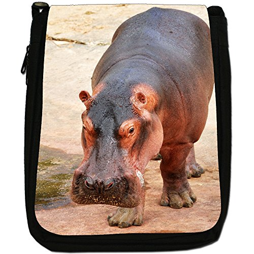 Ippopotamo Medium Nero Borsa In Tela, taglia M Hippopotamus On Rock