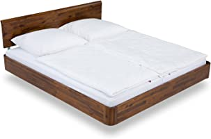 massivum Doppel-Bett Salomon 200x200 cm aus Akazie-Holz massiv braun Lackiert Bett-Gestell Schwebebett