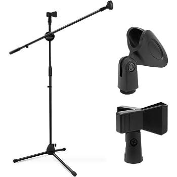 Ohuhu Mikrofonständer Dual-Mic Clip, Mikrofon Ständer, Collapsible Tripod Galgenstativ, Ultra-Licht für einfachen Transport (schwarz) (schwarz)