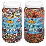 Hama Bügelperlen 2-tlg Set Perlendose 211-00 Vollton + 211-51 Neon je mit 13000 Perlen = 26000 Perlen
