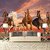 Herde der Pferde laufen gelassen durch Mohnfeld Tiertapete-Natur-Foto-Tapete in 8 Größen erhältlich XXX-Large digital