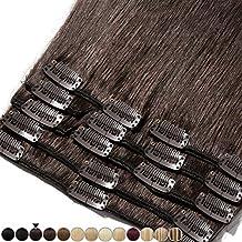 Extensiones de cabello auténtico con clip, 8 bandas de pelo humano Remy para la cabeza completa, set liso de 20-60cm de largo 25cm-75g #2 Marrone Scuro