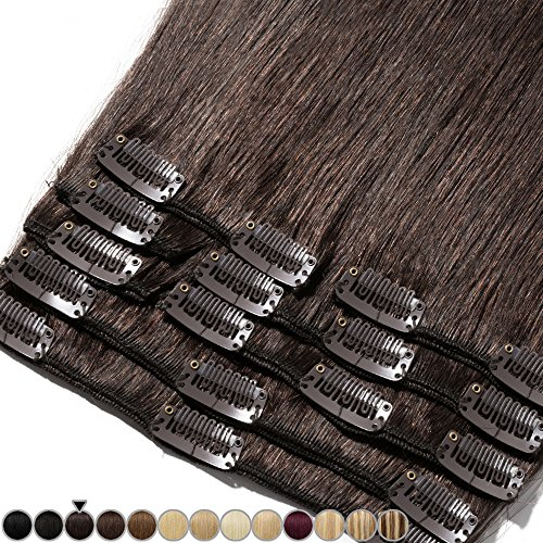Extension capelli veri clip 8 fasce remy human hair full head xl set lisci lunga 10 pollici 25cm pesa 75grammi, #2 marrone scuro