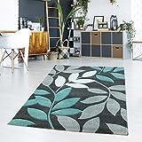 Teppich Flachflor Kurzflor Florales Design Blätter Modern Pastellfarbe Türkis Wohn-/Jugendzimmer Größe 120/170 cm