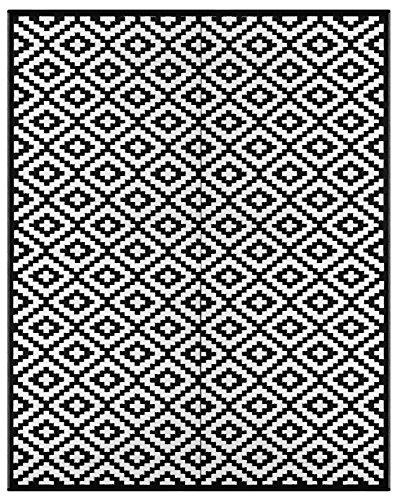 Green Decore 240 x 300 cm Tapis d'Intérieur et d'Extérieur Réversible en Plastique Recyclé, Indoor / Outdoor Tapis Écologique Léger - Noir / Blanc