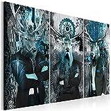 decomonkey   Bilder Abstrakt Hirsch 120x80 cm   3 Teilig Leinwandbilder   Bild auf Leinwand   Vlies   Wandbild   Kunstdruck   Wanddeko   Wand   Wohnzimmer   Wanddekoration   Deko   Menschen braun Tiere