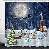 Weihnachtsdeko-Duschvorhang, Frohe Weihnachten, Schneemann und Weihnachtsmann, Duschvorhang, wasserdicht & schimmelresistent, Polyester Stoff für das Badezimmer, 187#, 180 * 200cm