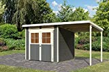Karibu Gartenhaus GLÜCKSBURG 3 + Anbaudach terragrau Gerätehaus 213x217cm 19mm