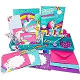 GirlZone Set Carta da Lettere Unicorno per Bambina e Ragazza Confezione con Fogli, Biglietti, Buste, Penna, Matita, Gomma, Sticker, Nastro Adesivo, Timbri | Regalo Compleanno, Biglietti d'Invito