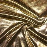 STOFFKONTOR Glanz Jersey Stoff Breite 150cm Gold Meterware