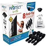 [Full Kit] Anti Tip Furniture Anchor & TV Straps w/Ultra-Strong Mounting Hardware & Safety Stud Finder Locks-in Heavy Objects for Instant Earthquake, Child & Baby Proofing (Black, 8 Straps)