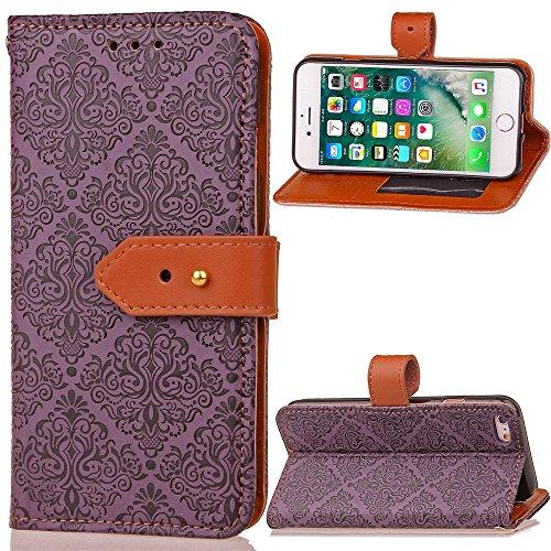 EKINHUI Case Cover Für Apple IPhone 6 6s Plus Fall Deckung Europäische Wandmalerei geprägt Pressing Flower Pattern PU Leder Brieftasche Fall mit Halter & Foto Frame & Card Slots ( Color : Khaki ) Purple