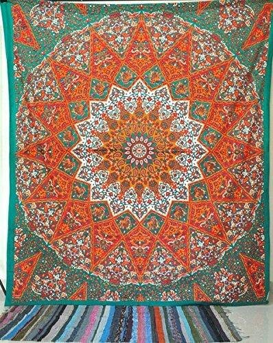 Craftozone Indio Peacock Mandala Tapestry, India Hippie Tapiz, Colgar en la Pared, Bohemio Tapiz Colgar en la Pared, Glorafilia, Mandala (235x210 cms, Orange)