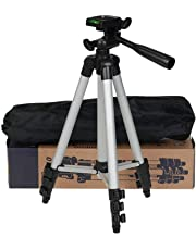 Teconica 3110 Portable and Foldable Metal Tripod with Mobile Clip Holder Bracket, Stand with 3-Dimensional Head for Making Like and Tiktok Videos - {Silver}