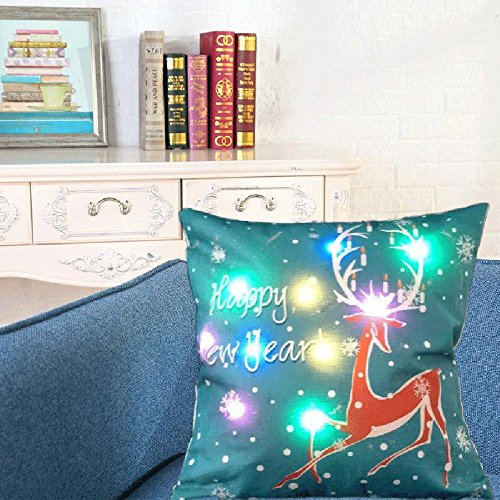 Pillow-top-matratze König-set (Xshuai 45cm*45cm Removable Washable New Color Lights Christmas Pillow LED Lights Pillow Creative Printing Linen For sofa coffee shop library book store party ( Multi Type A/B/C/D/E ) (45cm*45cm, D))
