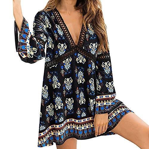 Xmiral Damen Kleid Damen Fashion Flare Sleeve V-Ausschnitt Drucken Aushöhlen Täglich Langarm Party Mini Kleider (L,Schwarz)