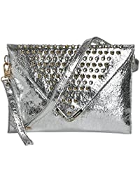 FT Synthetic Leather Made Sling Bag For Women-Silver