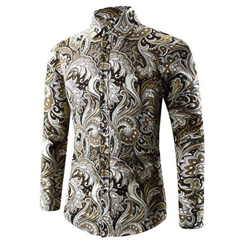 Hemd Herren Xinan 3D Print T-shirt Sport Langarm Bluse (M, Gold)