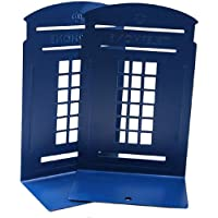 Ruotong zmgmsmh Non-Slip Heavy Metal Bookends 1 Pair Nostalgic London Telephone Booth Bookends for School Home Library…