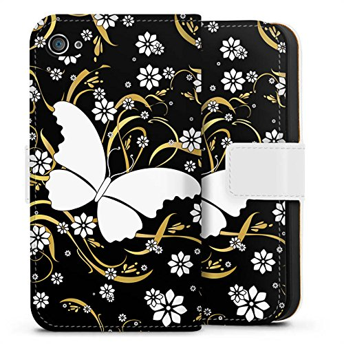 Apple iPhone X Silikon Hülle Case Schutzhülle Schmetterling Blume Muster Sideflip Tasche weiß