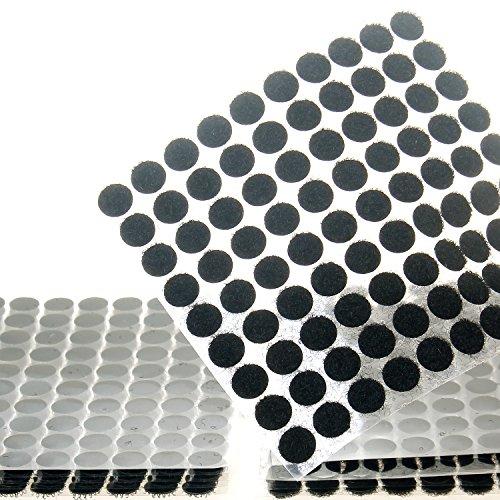 TUKA 450 Paar Klettpunkte 10 mm Selbstklebend, Stark und Robust Haken und Schlaufe Aufkleben, Klett - Klebe - Punkte, Klett Punkte, 450 Haken & 450 Schlaufe Punkte, Schwarz TKB5025 Black -