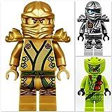 LEGO Ninjago 3er Figurenset: Lloyd als goldener Ninja, silberner Titanium Zane und Lasha