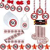 Deko Set 42 tlg. 50.Geburtstag Party Box Dekoration Glitter Girlande Luftballons