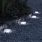 Lights4fun Set di 4 Mattonelle Luminose Piccole in Vetro con LED Bianchi ad energia Solare