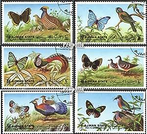 Ajman 2029A-2034A (complète.Edition.) oblitéré 1972 Papillons et Oiseaux (Timbres pour les collectionneurs)