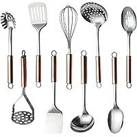 HOMQUEN Set d'ustensiles de Cuisine en Acier Inoxydable, 9 - Ustensiles de Cuisine, Batterie de Cuisine, ustensiles de…