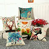 #3: AEROHAVEN™ Set of 5 Multi Colored Decorative Hand Made Cotton cushion covers 16