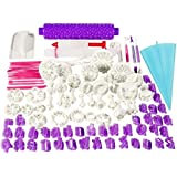 100pcs Fondant Cake Decorating Tools Cutter Cookie Bakeware Icing Decoration Kit with Flower Modelling Mold Mould Fondant Too