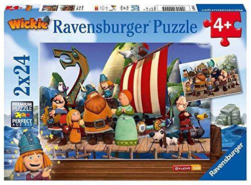 Wickie el vikingo - Dos rompecabezas de 24 piezas (Ravensburger 90945) , Modelos/colores Surtidos, 1 Unidad