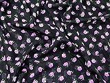 Chiffon-Kleiderstoff, Muster mit kleinen Rosen, schwarz und