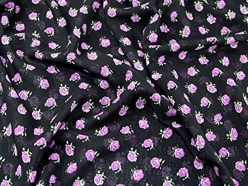 Chiffon-Kleiderstoff, Muster mit kleinen Rosen, schwarz und violett, Meterware. -