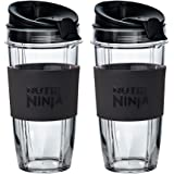 Nutri Ninja Becher mit Trink- und Verschlussdeckel 2x650ml Cups Schwarz und transparent.