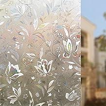 Rabbitgoo® Sin cola 3D vinilo pegatina translúcida adhesiva decorativa del vidrio de ventana autoadhesiva con Electricida Estática para el cristal de ventanal de baño cocina oficina Control de Calor y Anti UV 44.5*200cm